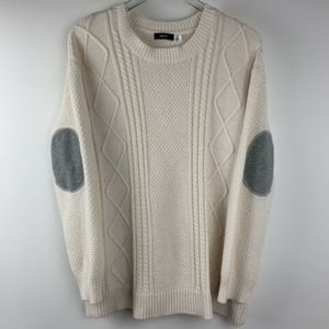 BDG Ivory Womens Medium Sweater Elbow Patch oversz